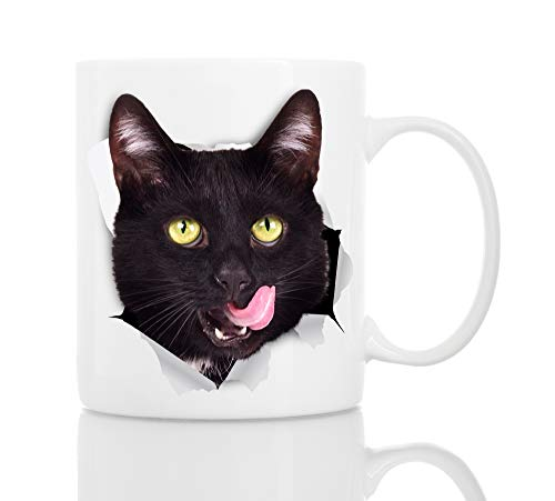 Thirsty Black Cat Coffee Mug - Ceramic Funny Coffee Mug - Perfect Cat Lover Gift - Cute Novelty Coffee Mug Present - Great Birthday or Christmas Surprise for Friend or Coworker, Men and Women (11oz)