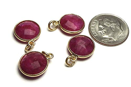 - 4 pcs Ruby 14k Gold Vermeil 11mm Faceted Coin Beads /r1