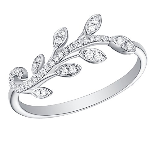 - Prism Jewel 0.12Ct G-H/I1 Natural Diamond Peace Olive Leaf Style Delicate Ring, 10k White Gold, Size 7