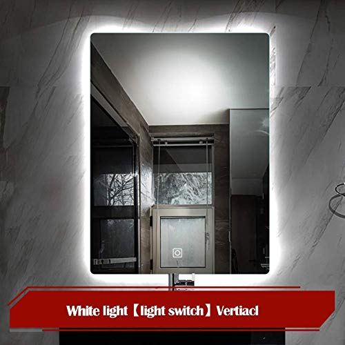JYYSJHG Wall Mounted LED Lighted Bathroom Mirror, Silver Frameless Vanity Mirror with -