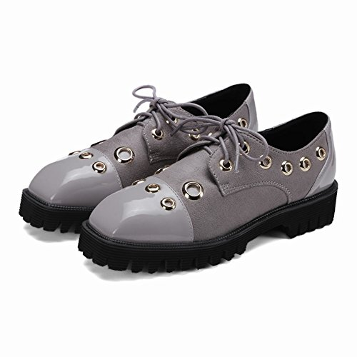 Latasa Mujeres Square Toe Lace Up Flat Oxford Zapatos Gris