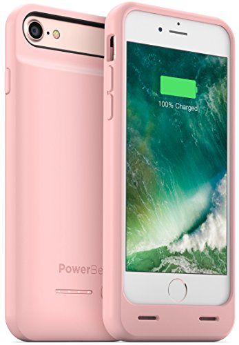 PowerBear iPhone 7 Battery Case (MFI) [3100mAh] High Capacity External Rechargeable Charger Pack for Apple iPhone 7 (Up to 150% Extra Battery) - PINK [24 Month Warranty & Screen Protector Included]