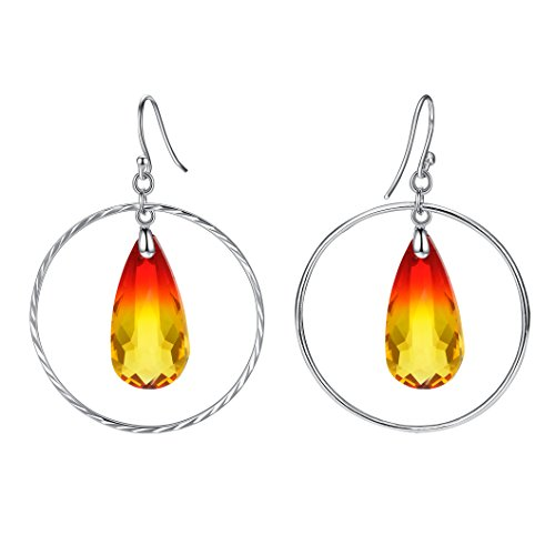 (EleQueen 925 Sterling Silver Big Circle Teardrop Hook Dangle Earrings Yellow Orange Red Made with Swarovski Crystals)