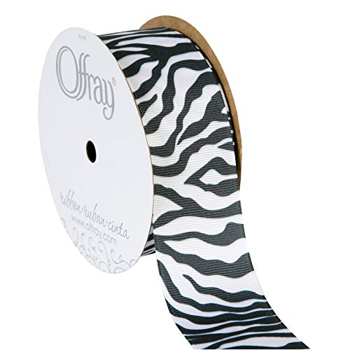 Offray 998809 Zebra Animal Print Grosgrain Craft Ribbon, 1-1/2-Inch Wide by 10-Yard Spool, Black/White]()