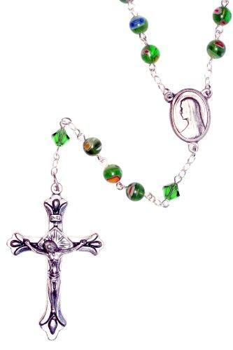 Murano Rosary Crucifix - Catholic Prayer Rosary made with Green Murano Millifiori Glass and Swarovski Crystals