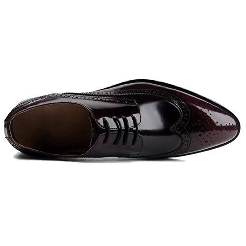 Stile Uomo Pelle di Punta Scarpe da Inglese Traspirante Stringate Scarpe A Winered in Stile Uomo in da Business Brock w5xqICn