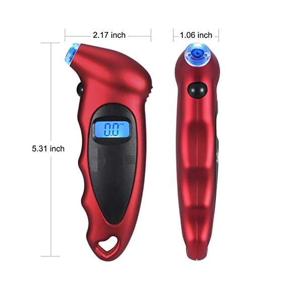 Voroly Digital Tyre Pressure Gauge 150 PSI 4 Settings for Car Truck Bicycle with Backlit LCD and Non-Slip Grip, Red 5