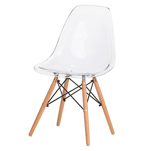 Design Tree Home FHF-EAMS-ACRY Eames Style Side Chair, Large, Acrylic