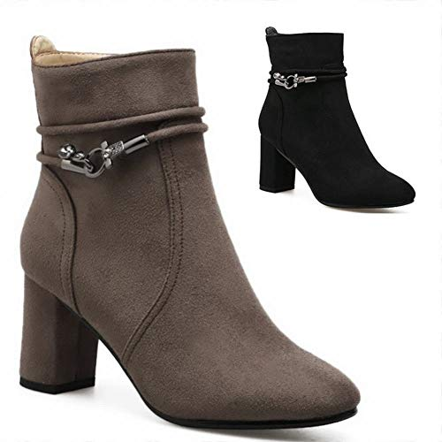41 Tacón botas 34 Botas Otoño Invierno Con Gran Negra Gruesas E Zj Alto Tamaño Punta De Zapatos Mujer Caqui botas qIxTwnUFz