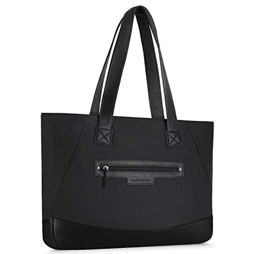 MOSISO Laptop Tote Bag (Up to 17.3 Inch), Water Resistant PU & Polyester Women Work Travel Shopping Carrying Shoulder Handbag with Compartment Compatible Notebook, MacBook & Ultrabook, Black