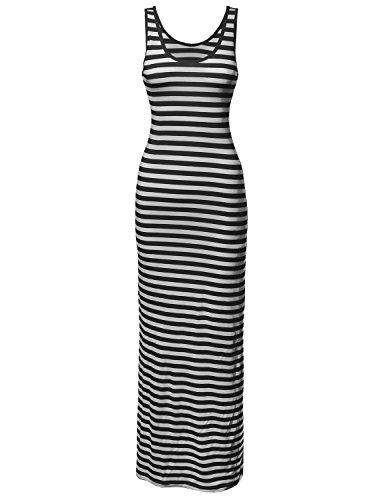[Stripe Sleeveless Tanktop Long Maxi Dresses Black White Size L] (Black White Stripe Dress)