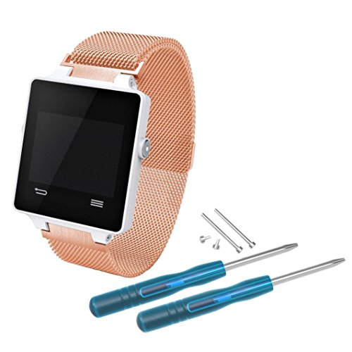 Price comparison product image Band for Garmin Vivoactive; Mosunx Milanese Stainless Steel Quick Install Band Strap For Garmin Vivoactive GPS Watch (Gold)