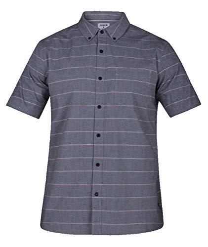 (Hurley AR0811 Men's Keanu Stripe Short Sleeve Button Down Shirt, Oil Grey - M)