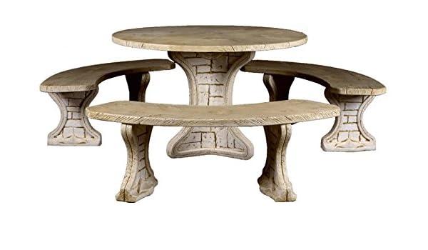 DEGARDEN Conjunto de Mesa Redonda 115cm. de jardín Modelo Tablas y Bancos en hormigón-Piedra para Exterior: Amazon.es: Jardín