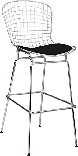 Harry Bertoia Side Chair (Mod Made Mid Century Modern Chrome Wire Barstool for Bar or Kitchen, Black)