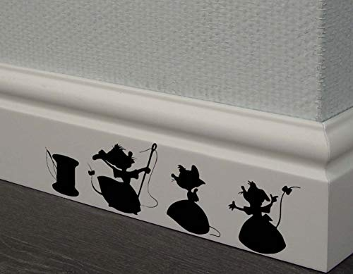 (REDIN STORE Cinderella 3 mice Decal Disney Home Decor Disney Wall Decal Disney Wall Sticker Kids Wall Decal Kitchen Decal skirting Board Decals )