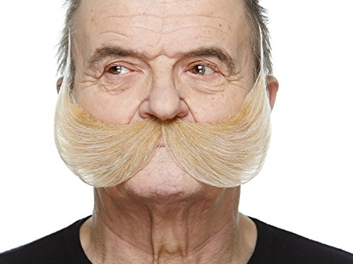 Mustaches Self Adhesive Fake Mustache, Novelty, Fisherman's False Facial Hair, Costume Accessory for Adults, Blond Color