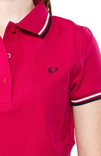 Fred Perry Women's Twin Tipped Polo Shirt, Cerise/White/Black, US X-Large (UK 16)