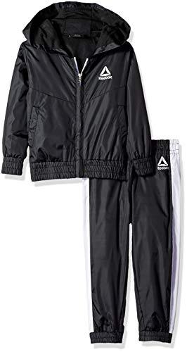Reebok Boys' Toddler Nylon Day Off Windsuit Hooded Jacket and Jog Pant, Black, ()