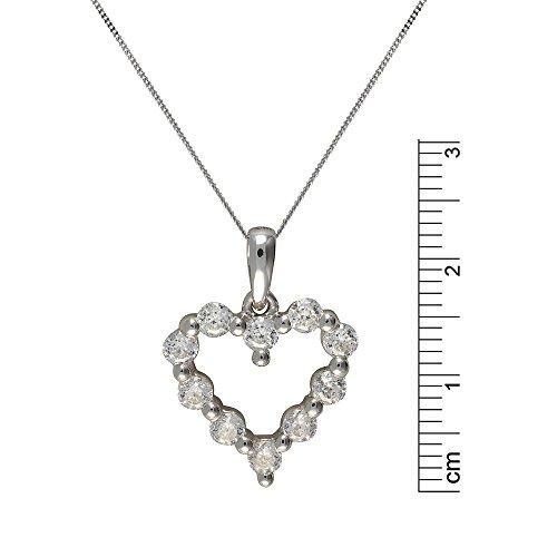 Ivy Gems or blanc 9carats Garnissage 100Coupe Suisse Oxyde de Zirconium Cœur ouvert pendentif sur chaîne 46cm