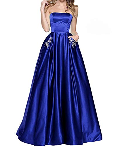 - menoqo Women's Strapless Satin Prom Dresses Long Evening Gowns with Pockets MNQ181111-Royal Blue-US10