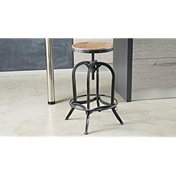 Dempsey | Rustic Industrial | Distressed Metal | Swivel Adjustable | Bar  Stool (Wood Seat