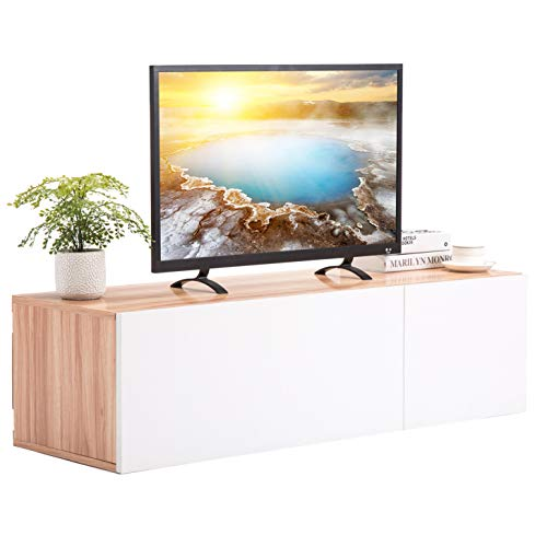 - Mecor Wall Mounted TV Stand Floating TV Cabinet Hanging Shelf TV Cabinet Media Console for 47 inch TV White Entertainment Table with 2 Storage