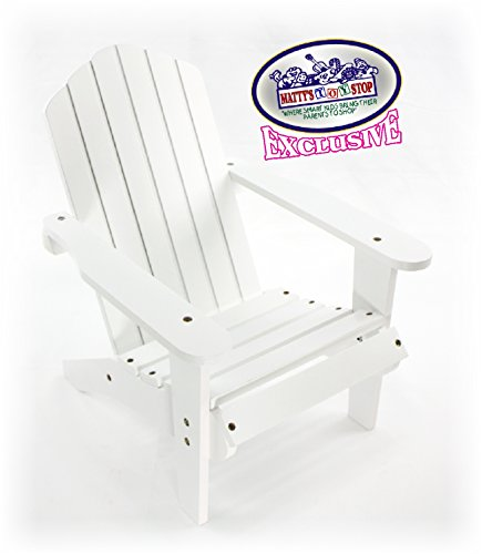 Matty's Toy Stop White Wooden Doll Furniture Adirondack Deck Chair for 18 inch Dolls (Fits American Girl Dolls)