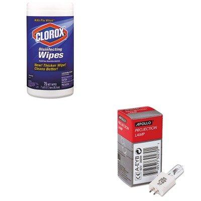 Apollo Replacement Bulb (KITAPOAEYBCOX01761EA - Value Kit - Apollo Replacement Bulb for Bell amp;amp; Howell/Eiki/Apollo/Da-lite/Buhl/Dukane Products (APOAEYB) and Clorox Disinfecting Wipes (COX01761EA))
