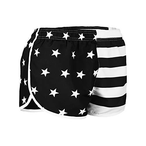 VBRANDED Women's American Flag Side Split Running Shorts X-Large Black White (Split White And Shorts Black)