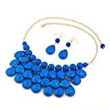 CharmSStory Vintage Blue Beaded Bubble Bib Chunky Statement Pendant Necklace Earrings Set for Gifts