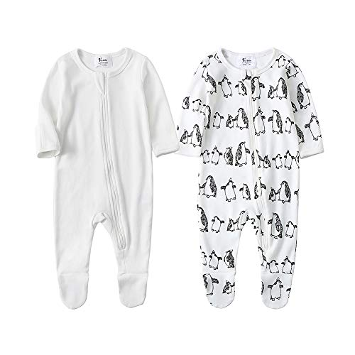 - O2Baby Baby Boys Girls Organic Cotton Zip Front Sleeper Pajamas, Footed Sleep 'n Play(6-12Months,Ivory Stretch+Penguin)