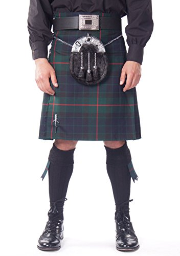 Kilt Society Mens 7 Piece Full Dress Kilt Outfit- Gunn Tartan with Black Hose 46'' to 50'' by Kilt Society