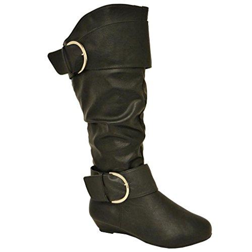 Twisted Women's Tara Wide Calf Wedge Fashion Boot - stylishcombatboots.com