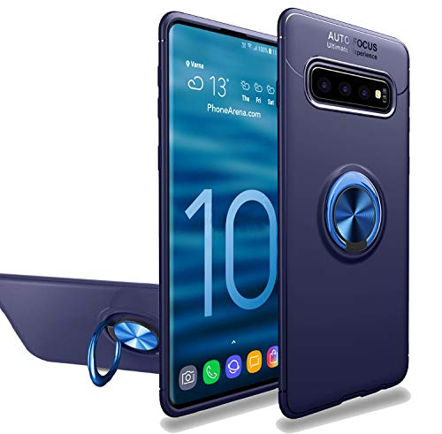 (Newseego Compatible with Galaxy S10 Plus Case,360° Adjustable Ring Stand,Frosting Thin Soft Protective and Finger Ring Holder Kickstand Fit Magnetic Car Mount for Samsung Galaxy S10)