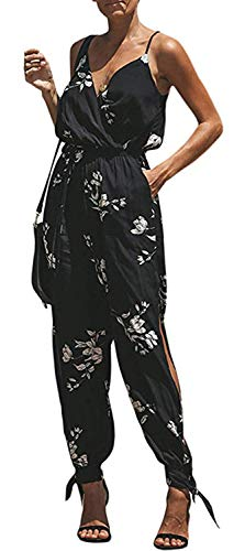 Women's V Neck Floral Print Spaghetti Strap Split Beam Foot Jumpsuit Rompers (Color : Black-F, Size : M)