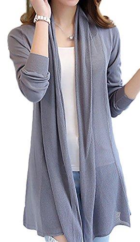 [PEONYPOP(ピオニーポップ)] 羽織 薄手 長袖 無地 ロング ニットカーディガン カーディガン レディース