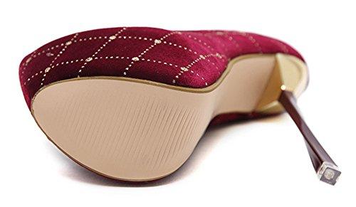 Plateau Stiletto Pumps Damen Samt Rot Aisun Top Heels Low Vintage Kariert High AS1wXH