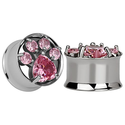 KUBOOZ 1 Pair Pink Zircon Cat-Claws Stainless Steel Ear Plugs Tunnels Gauges Stretcher Piercings 1/2