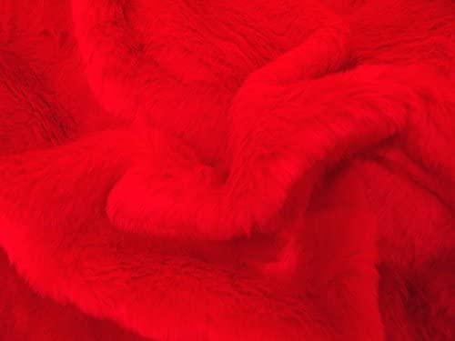 LUXURY Short Plush Super Soft Faux Fur Fabric Material RED