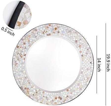 Whole Housewares Modern Mosaic Frame Wall Mirror, Decorative Round Wall Mirror Diameter 20 Inside Mirror 14 Shell