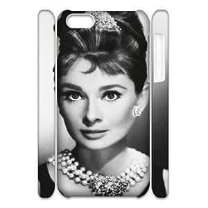 wugdiy Custom Hard Plastic Back 3D Case Cover for iPhone 5C with Unique Design Audrey Hepburn