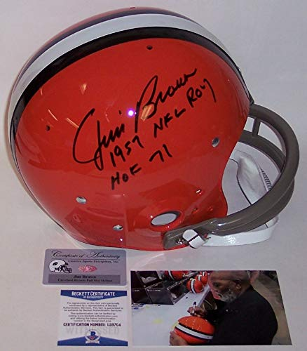 Jim Brown Autographed Hand Signed Cleveland Browns Full Size TK 2-Bar Throwback Football Helmet - with 1957 NFL ROY and HOF 71 Inscriptions - BAS Beckett ()