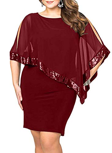 Sequined Overlay - Diukia Women's Plus Size Sequined Mesh Overlay Sleeveless Pencil Poncho Party Bodycon Mini Dress