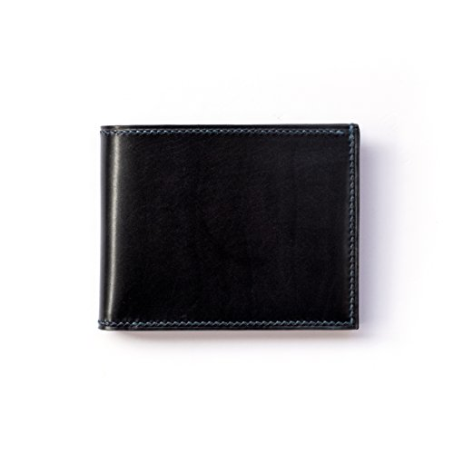 Brown Bifold Full Premium Cicero Mens Stitch Black Blue Calf Grain Wallet Green Leather Hand With Blue Red Leather tw78q