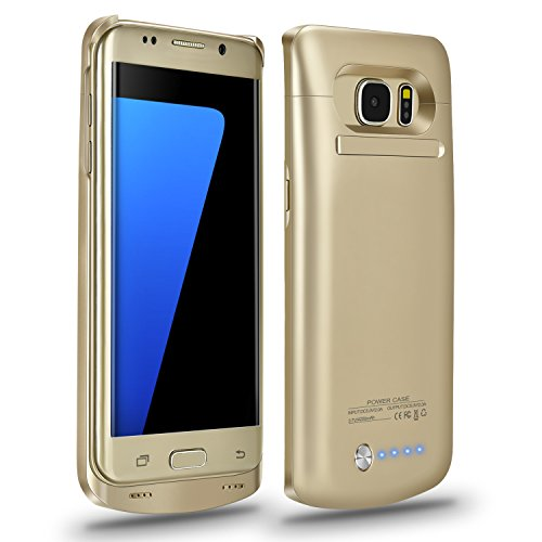 Galaxy S7 Edge Battery Case,Accerzone External Rechargeable Power Bank 5200mAh Protective Portable Slim Backup Charging Case with Kickstand for Samsung Galaxy S7 Edge(Not for S7) (Gold)