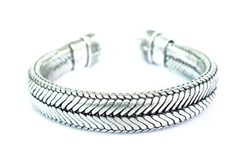 TIBETAN SILVER SNAKE CHAIN BRACELET FOR WOMEN UNISEX HANDMADE BRACELET - Bracelets Turquoise Snake