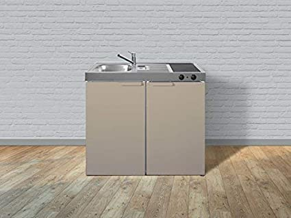Miniküche 100 Cm Mit Kühlschrank : Stengel miniküche single mini küche 100cm metall becken rechts mk100