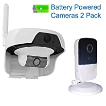 Solo Solar Powered Outdoor, Water Resistant Wireless Smart P2P WIFI IP High Definition Video Surveillance Camera with PIR Motion Detection Sensor Outdoor Indoor Cameras 2Pack