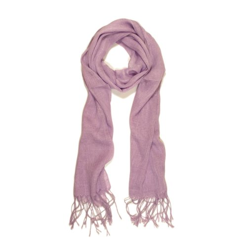 TrendsBlue Elegant Solid Color Viscose Fringe Scarf, Light Purple (Purple Viscose)